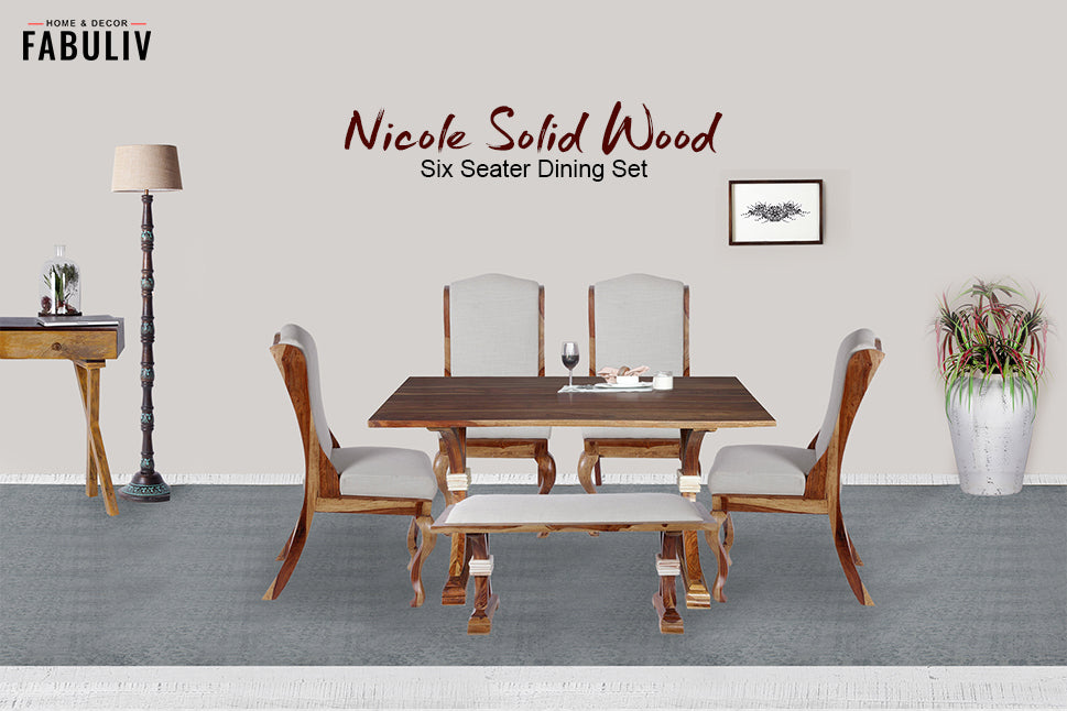 wooden six seater dining set