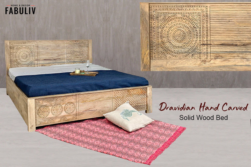 hand carved wooden bed