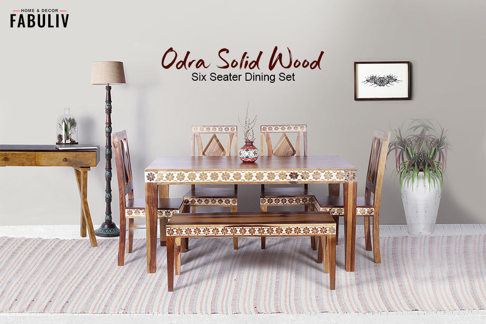 handpainted wooden dining table