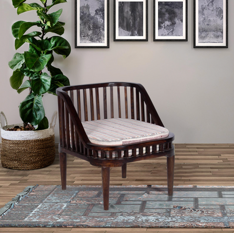 Solid Wood One Seater Sofa with Hand Woven Seat