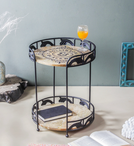 Black End Table - Tiered side table