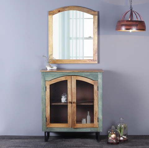 Solid Wood Cabinet and Mirror for entryway decor