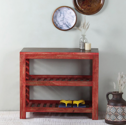 red shoe cabinet for the entryway