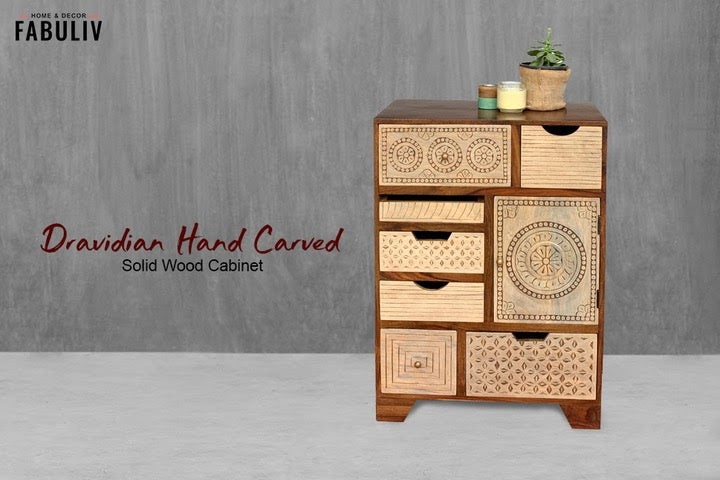 wooden chest of drawers - handcarved