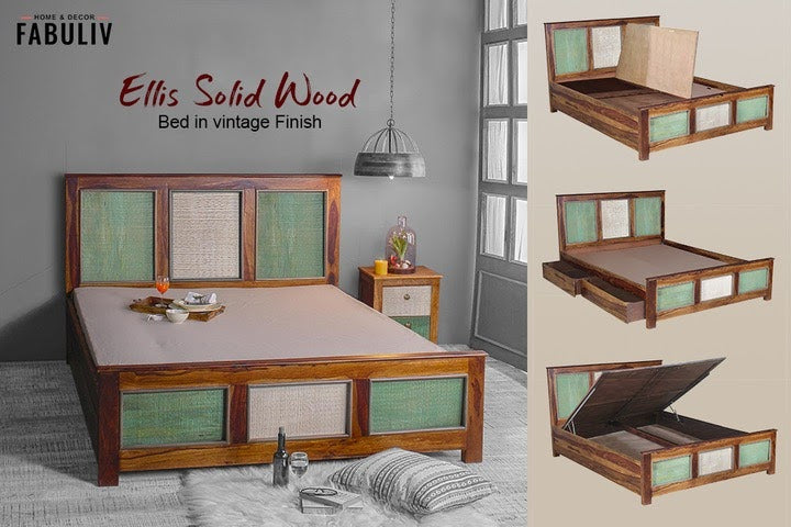 vintage wooden bed with storage