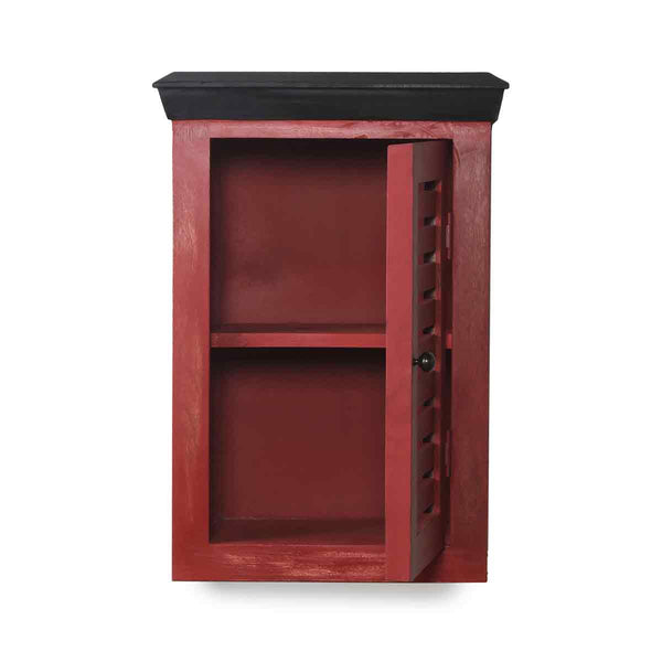 Cappi Solid Wood Distress Red Wood Wall Shelve 3