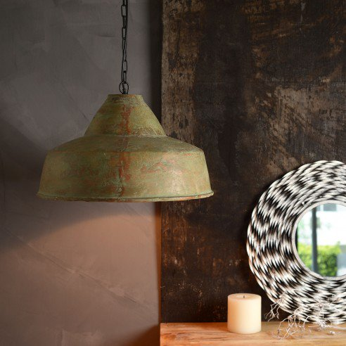 FABULIV Teracotta Vintage Green Antique Pendant Lamp 1