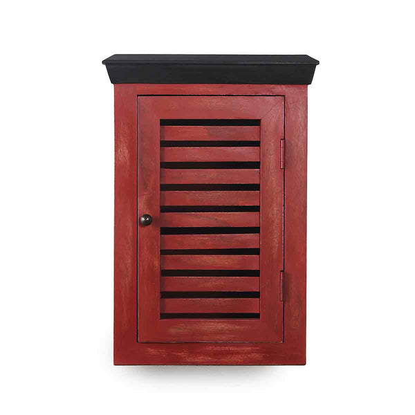 Cappi Solid Wood Distress Red Wood Wall Shelve 2