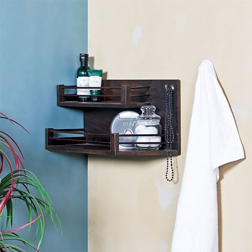 True Solid Wood Bath Wall Shelf