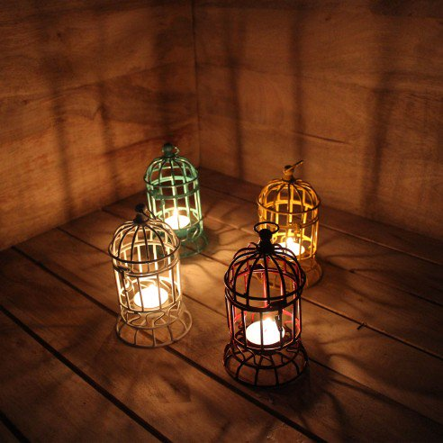 Bird Cage Yellow Candle Holder Set of 2+2