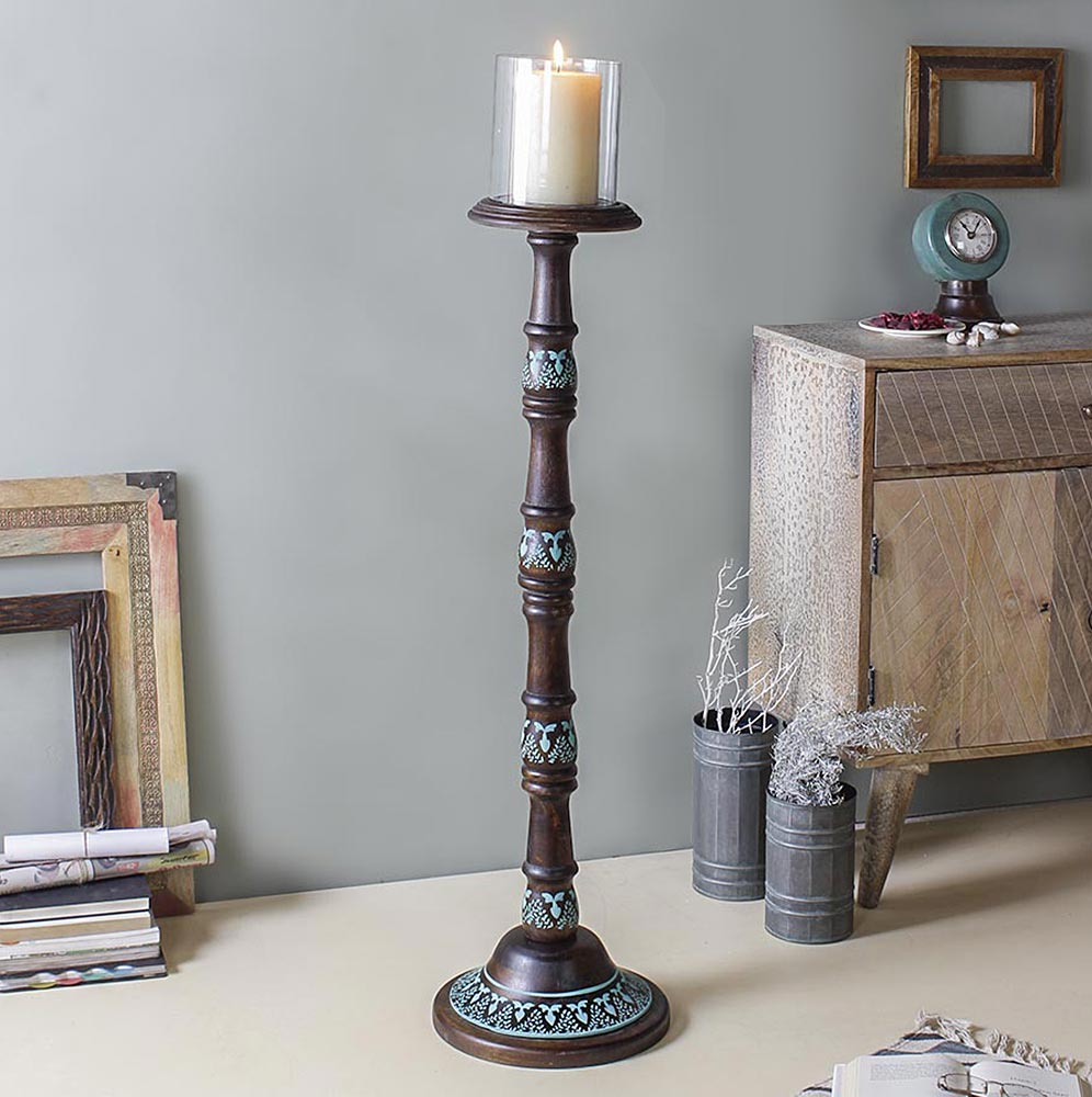 Hester Hand painted Floor Candle Stand