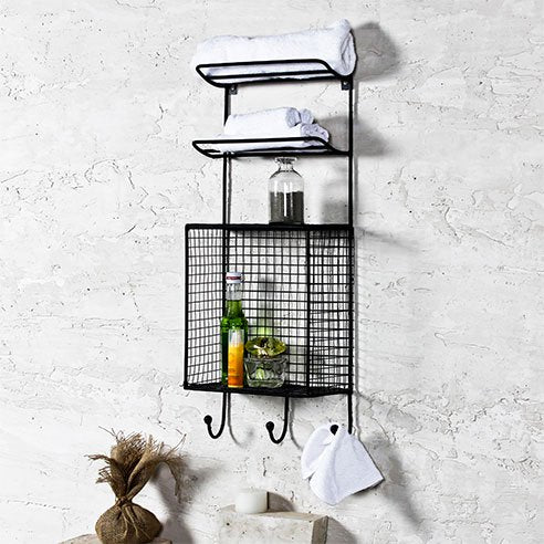 Iron Industrial Black Bath Wall Shelf