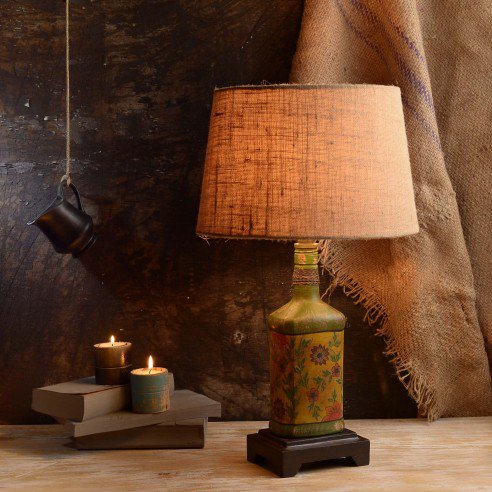 Vintage Hand Painted Glass Bottle Lamps
