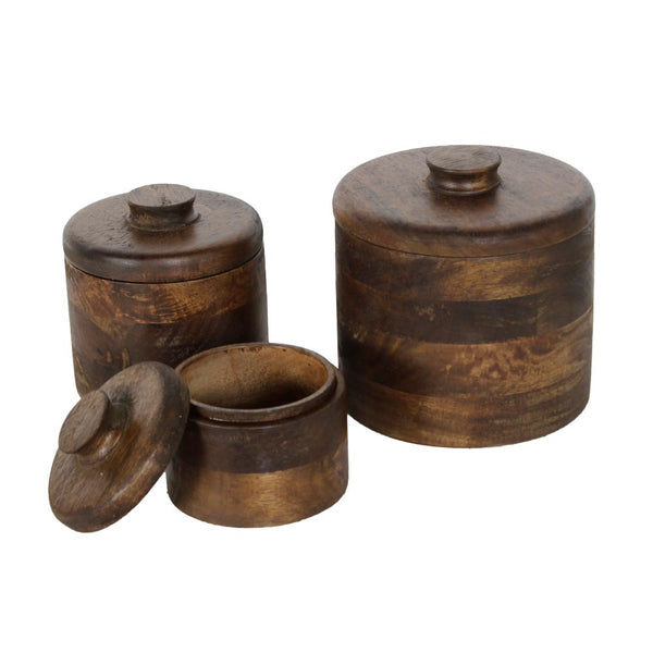 Set of 3 Basil Brown Wooden Boxes b