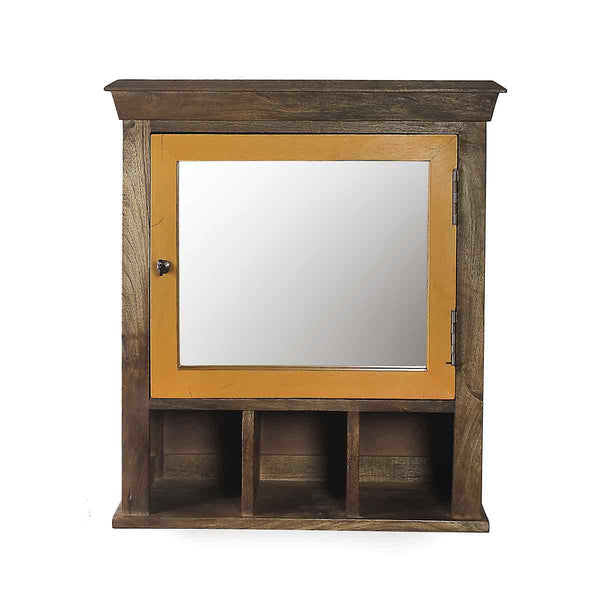 Solid Wood Vintage Yellow Bathroom Cabinet with Mirror 2