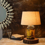 Cocoon yellow antique table lamp Small