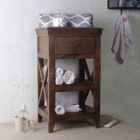 Solid Wood Bathroom Floor Shelves 1