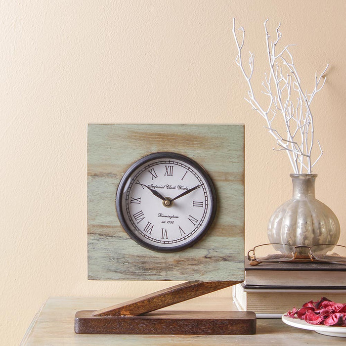 Camrose Rustic 9 Square Table Clock