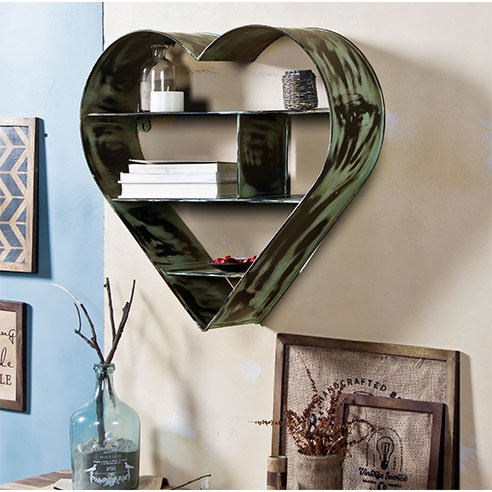 Ashton vintage Green Metal Wall Shelf