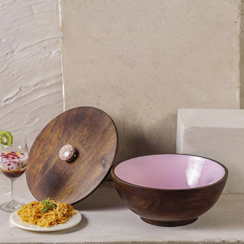 Strawberry Pink Wooden Bowl With Lid