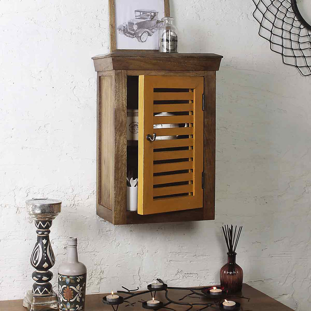 a069dd7c5 Cappi Solid Wood Vintage Yellow Wall Shelve 1 · Wall Shelf online ·  decorative shelves