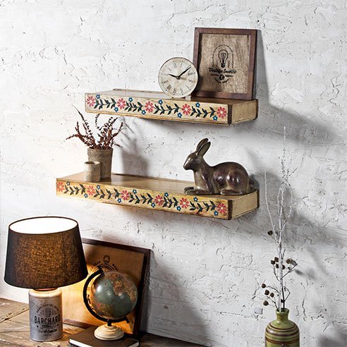 Wood Hand Painted Wall Shelves