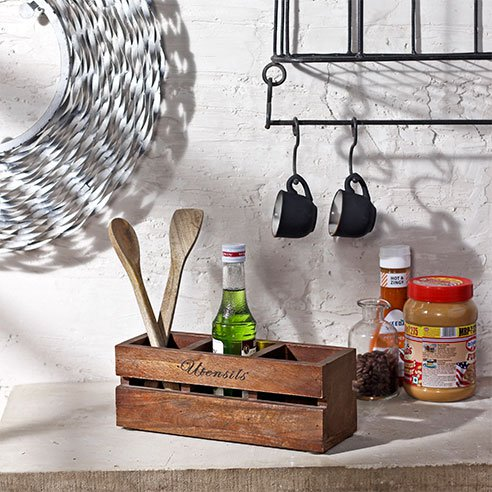 Coffee wooden condiment holder
