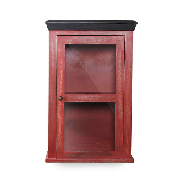 Solid Wood Vintage Red Bathroom Cabinet 2