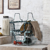 Rustic blue set of 2 metal baskets
