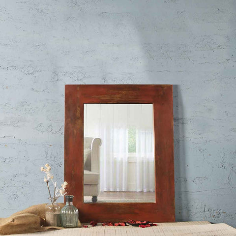 Weathered Red Bath Mirror