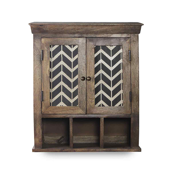 Alfredo Solid Wood Hand Painted Wall Shelve Double Door 2