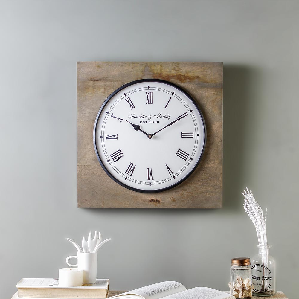 Winwood Wooden 15 Square Wall Clock