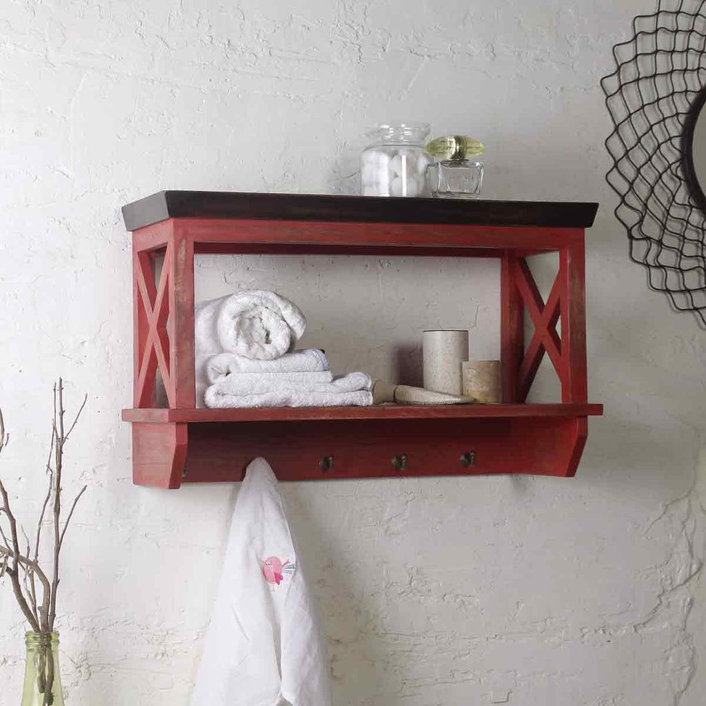 Solid Wood Vintage Red Bathroom Shelf online