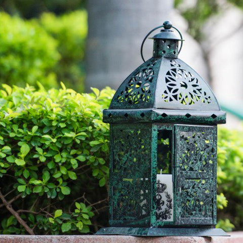 FABULIV Green Distress Metal Hanging Lantern21