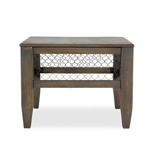 Baroque Smokey Grey Mesh End Table