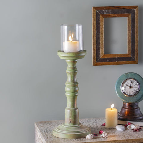 Cordelia Rustic Green Candle Stand