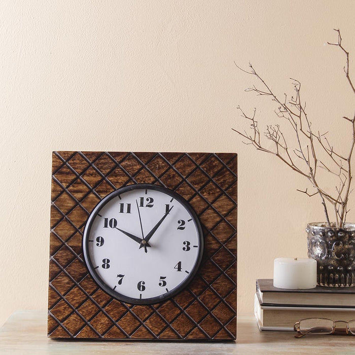 Madras 9 Square Table Clock