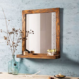 Weathered Grey Bath Mirror with Shelve