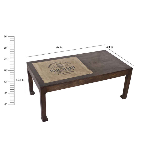 Richard Barrel Rectangular Coffee Table in 2 Sizes