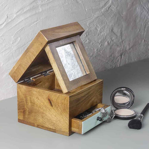 Natural Wooden Trinklet Box with Mirror