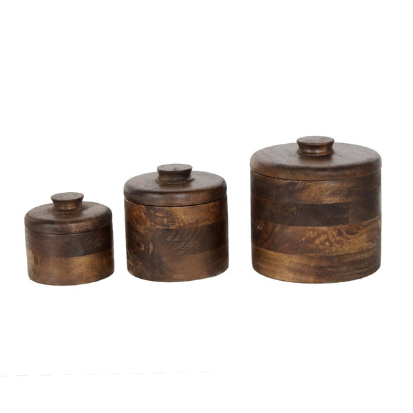 Set of 3 Basil Brown Wooden Boxes a