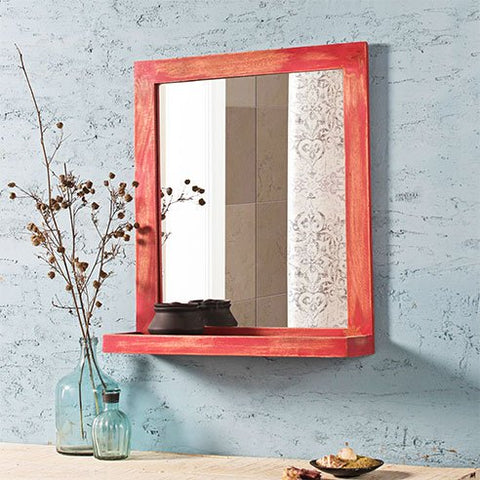 Weathered Red Bath Mirror with Shelve
