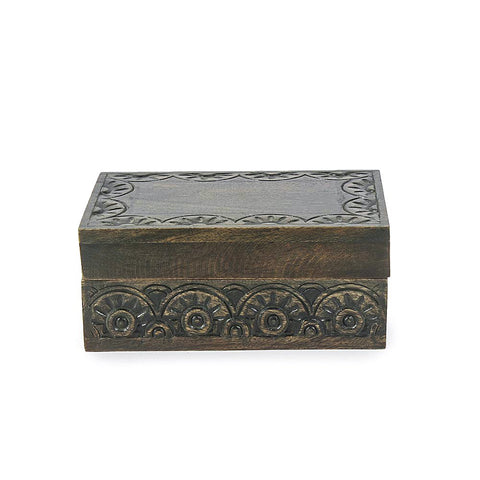 Antique Wooden Hand Carved Trinklet Box-a