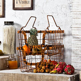 Rustic orange set of 2 metal baskets