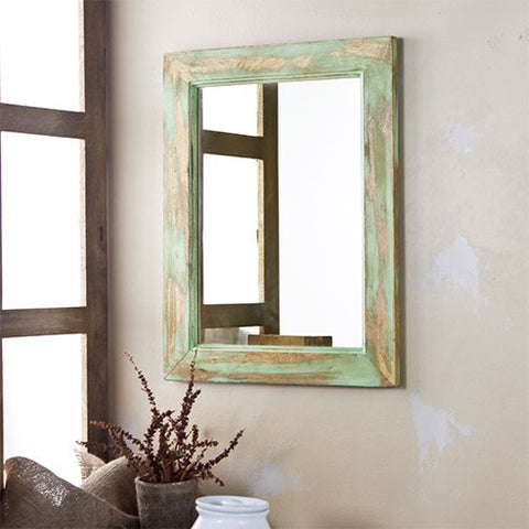Solid Wood Green Distress Bathroom Mirror
