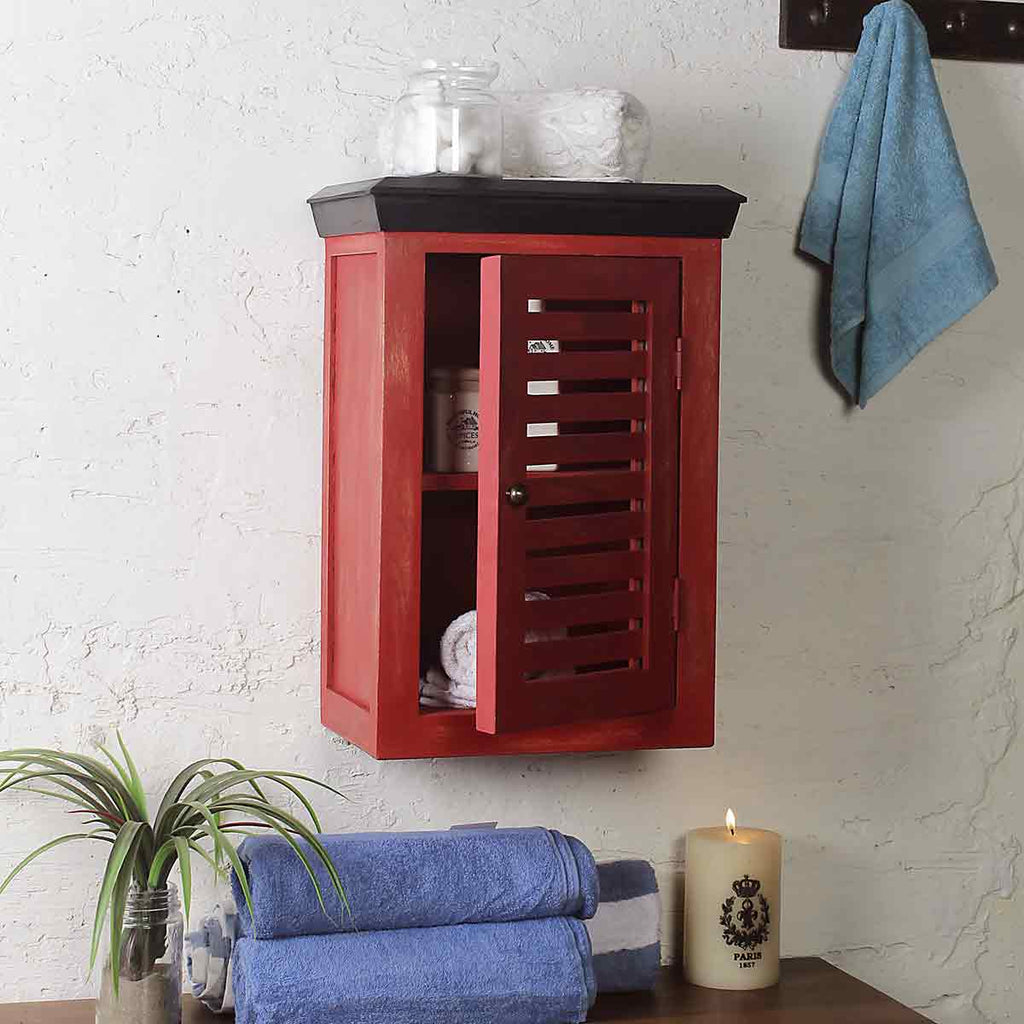 Solid Wood Vintage Red Bath Cabinet 1