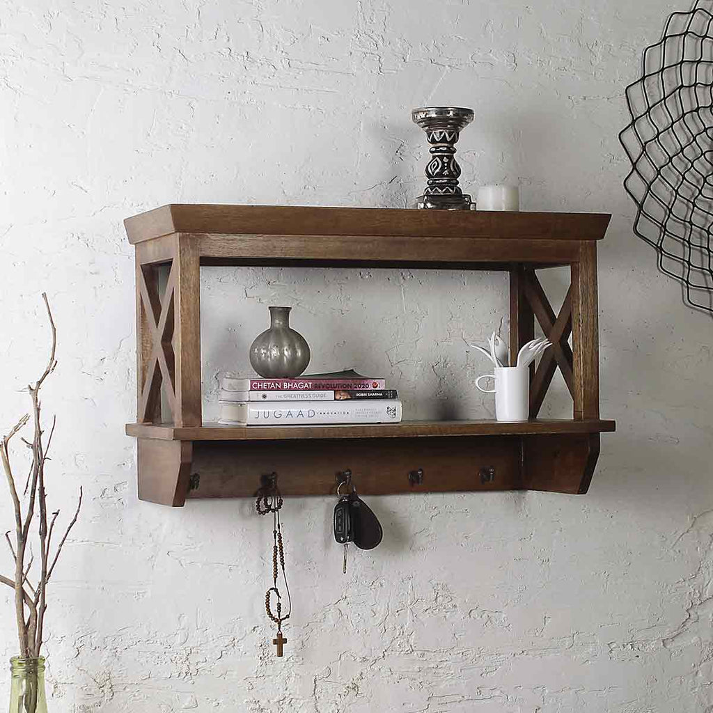 Alonza Solid Wood Wall Shelf with hooks