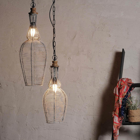 Distress White Wire Pendant Lamp Set of 2
