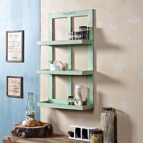 Turquoish wooden wall shelf large