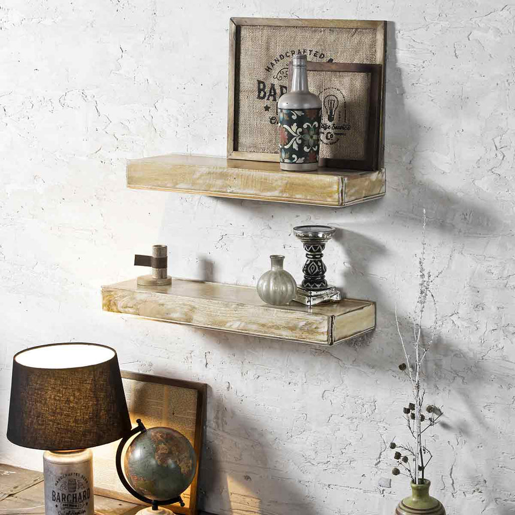 Ashton Distress White Wall Shelf 1